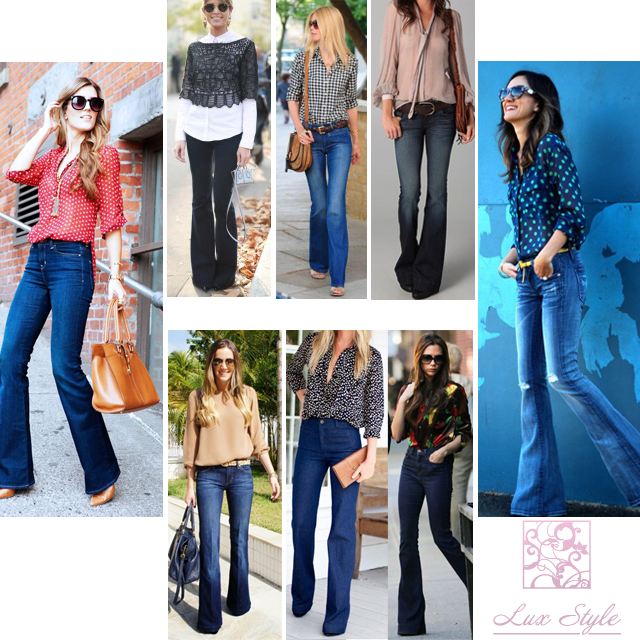 джинсы клеш с блузкой