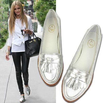 2015-New-Arrival-Street-Style-Fashion-Women-s-Flats-Metallic-Silver-Round-Toe-Tassel-High-Quality
